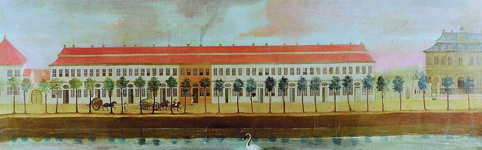 Der Friedrichsthaler Kanal in Detmold mit dem Favouriteschloss, dem heutigen Palais der Hochschule für Musik, im 18. Jahrhundert.